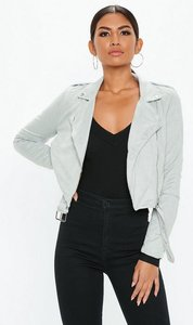 Read more about Light grey cropped faux suede biker jacket grey