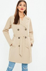Read more about Stone classic a line belted trench coat grey