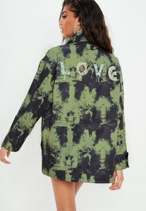 Read more about Green embellished love field jacket green