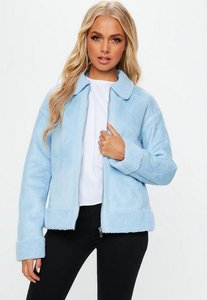 Read more about Blue faux fur trim aviator jacket blue