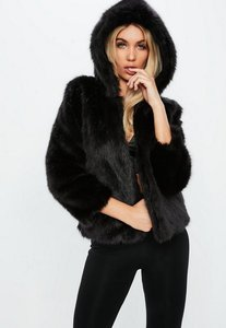 Read more about Fanny lyckman x missguided black hooded faux fur jacket black