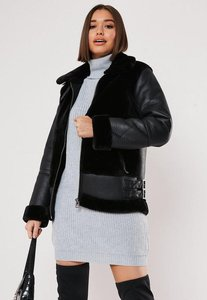 Read more about Black faux fur ultimate aviator jacket black