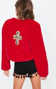 Read more about Red festival badge faux fur jacket red