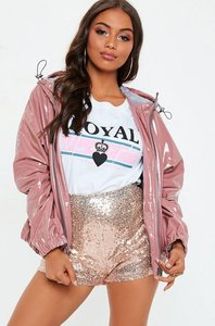 Read more about Pink high shine crop rain mac hooded jacket pink
