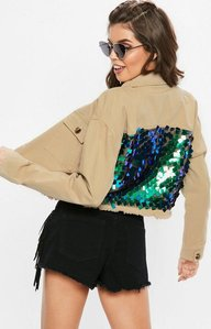 Read more about Sand sequin back cropped trucker jacket nude