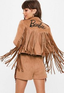 Read more about Barbie x missguided tan faux suede fringe biker jacket brown