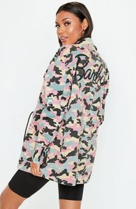 Read more about Barbie x missguided pink logo camo jacket pink
