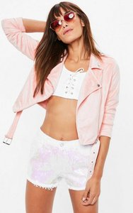 Read more about Pink cropped faux suede biker jacket pink