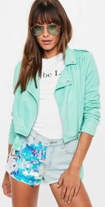 Read more about Green cropped faux suede biker jacket green