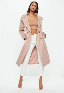 Read more about Pink double breasted faux wool coat pink