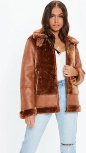 Read more about Brown faux fur ultimate aviator jacket brown