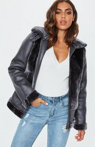 Read more about Grey faux fur ultimate aviator jacket grey