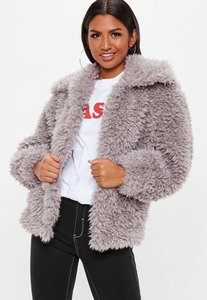 Read more about Mink boxy shaggy borg jacket brown