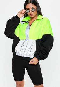 Read more about Neon green colour block reflective windbreaker jacket green