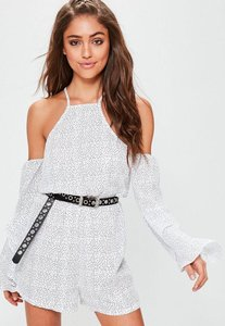 Read more about White polka dot cold shoulder playsuit white