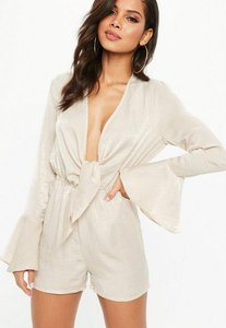 Read more about Beige satin wrap front playsuit gold