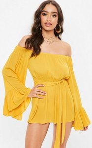 Read more about Yellow bardot long sleeve playsuit yellow