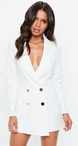 Read more about White tailored military button playsuit white