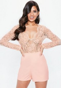 Read more about Nude plunge lace playsuit beige