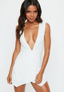 Read more about Cream pleated skort plunge playsuit white
