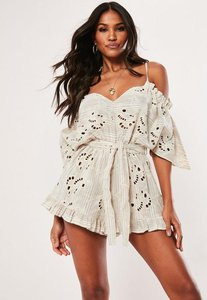 Read more about Nude broderie cold shoulder playsuit nude