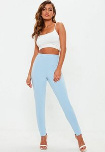 Read more about Light blue stretch crepe cigarette trousers blue