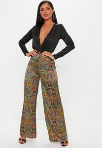 Read more about Yellow paisley print wide leg trousers yellow