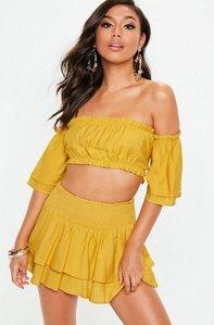 Read more about Mustard yellow shirred frill skirt and bardot top set yellow