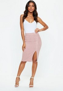 Read more about Pink faux suede side split midi skirt pink