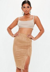 Read more about Tan faux suede split midi skirt beige