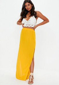 Read more about Mustard double split side maxi skirt yellow