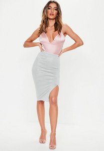 Read more about Thigh split faux suede midi skirt grey grey