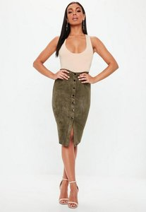 Read more about Button through faux suede midi skirt khaki beige