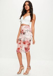 Read more about Pink floral lace midi skirt pink