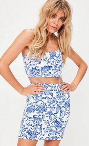 Read more about Blue printed slinky mini skirt blue