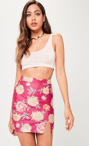 Read more about Pink floral faux suede mini skirt pink