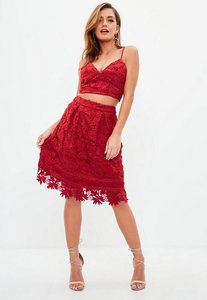 Read more about Red lace overlay full midi skirt red