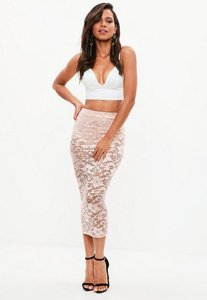 Read more about Pink lace high waist midi skirt beige