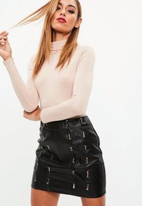 Read more about Black lace up faux leather mini skirt black