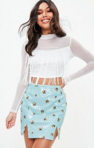 Read more about Blue sequin star notch mini skirt blue
