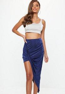 Read more about Blue acetate slinky drape mini skirt blue