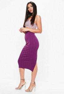 Read more about Purple bandage side split midi skirt purple