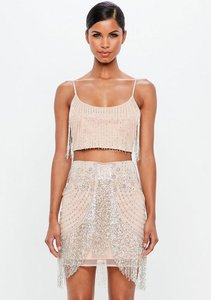 Read more about Nude beaded fringed mini skirt beige