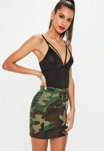 Read more about Khaki lace up front camo mini skirt green