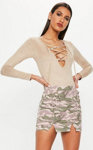 Read more about Pink lace up front camo mini skirt pink