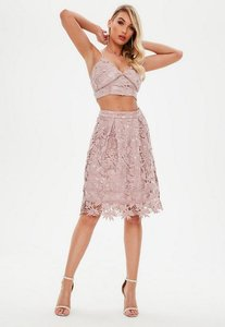 Read more about Pink crochet lace high waisted midi skater skirt pink