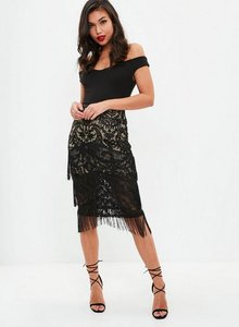 Read more about Black lace tiered tassel midi skirt black