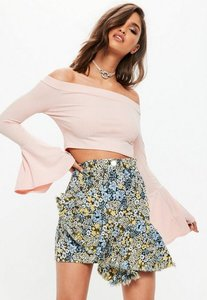 Read more about Blue jacquard floral print ruffle front skirt blue