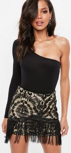 Read more about Black mesh overlay mini skirt beige