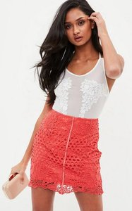 Read more about Coral lace mini skirt pink